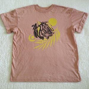 girl👩 Dangerous💥 Tiger Head🐯 Boyfriend Tee-Sz S